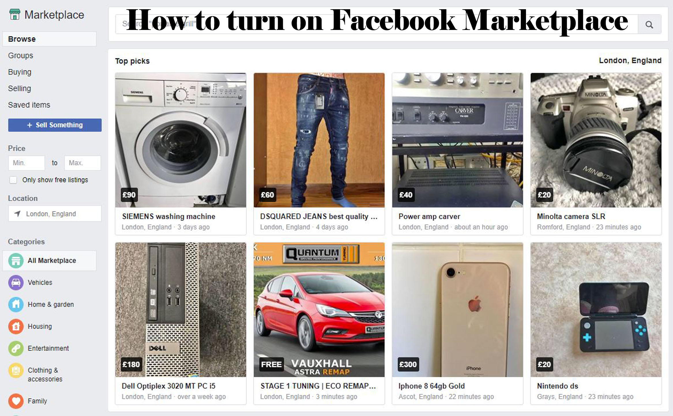 How to turn on Facebook Marketplace