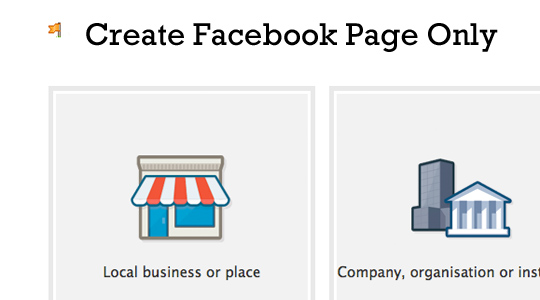 Create Facebook Page Only