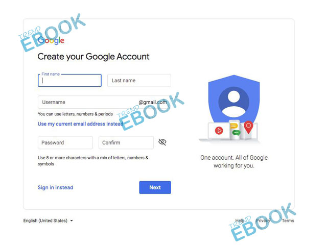Google Sign up -  Create your Google Account | Sign in Google Accounts
