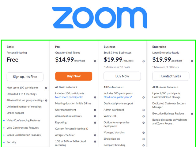 Zoom Cost - How Much Does it Cost for Zoom | Zoom Pricing Plans